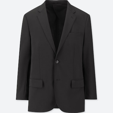 Men Stretch Wool Jacket, Black, Medium