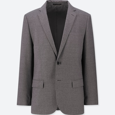 MEN STRETCH WOOL SLIM-FIT JACKET, GRAY, medium