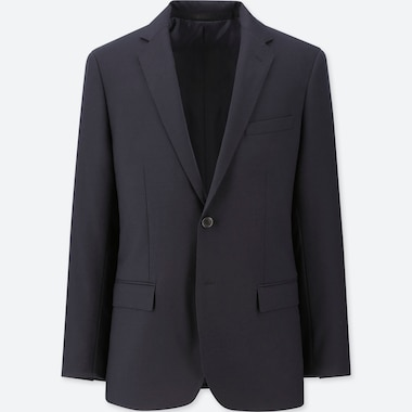 MEN STRETCH WOOL SLIM-FIT JACKET, NAVY, medium