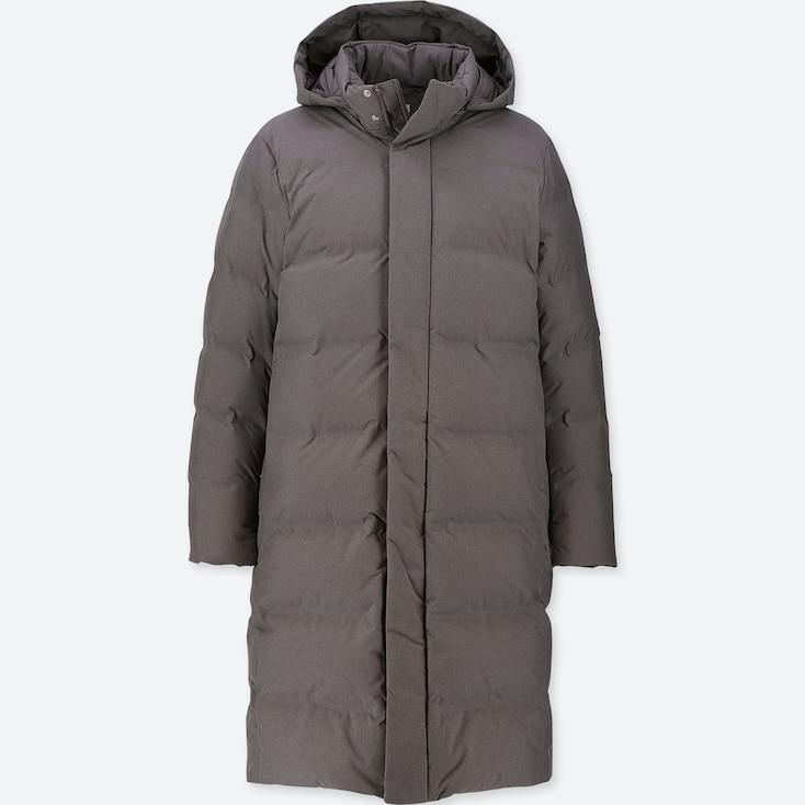 MEN SEAMLESS DOWN LONG COAT, GRAY, large