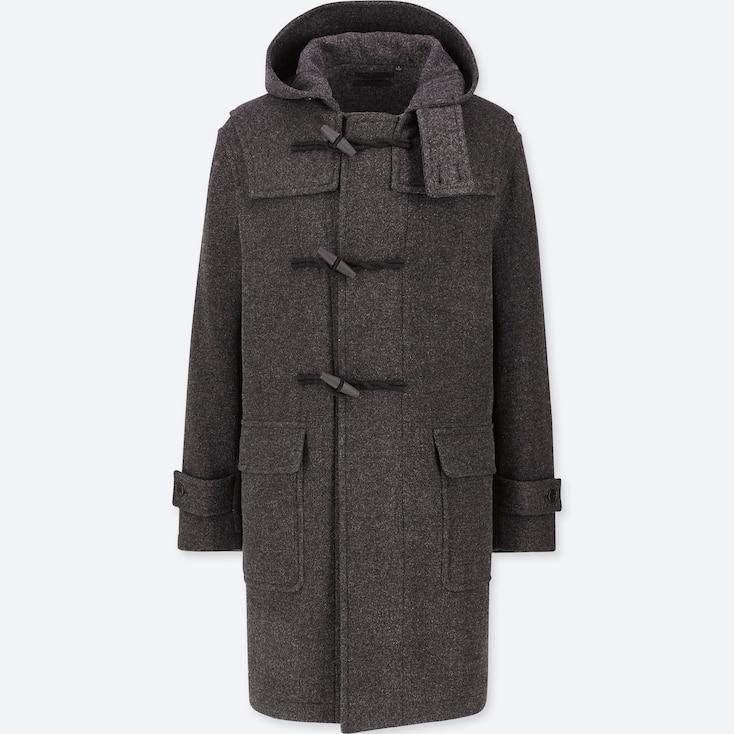 MEN WOOL-BLEND DUFFLE COAT, DARK GRAY, large