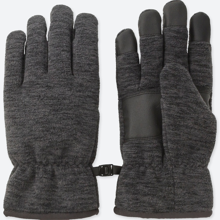 Men Heattech-Lined Fleece Gloves, Dark Gray, Large
