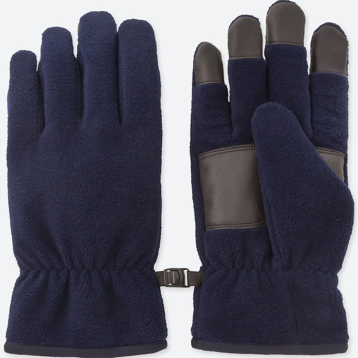 MEN HEATTECH-LINED FLEECE GLOVES, NAVY, large