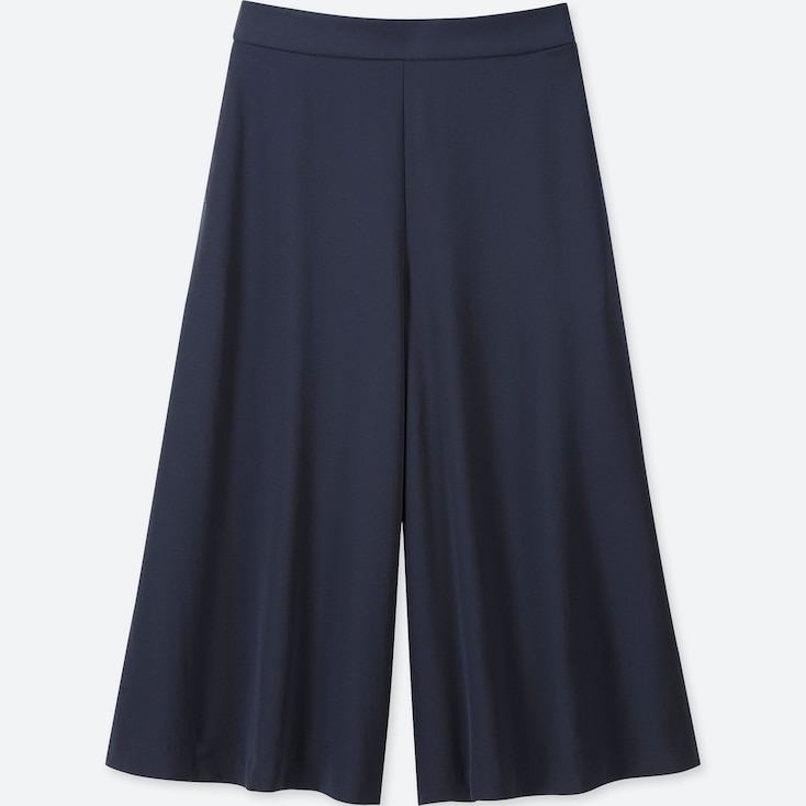 WOMEN DRAPE WIDE CROPPED PANTS (ONLINE EXCLUSIVES), NAVY, large