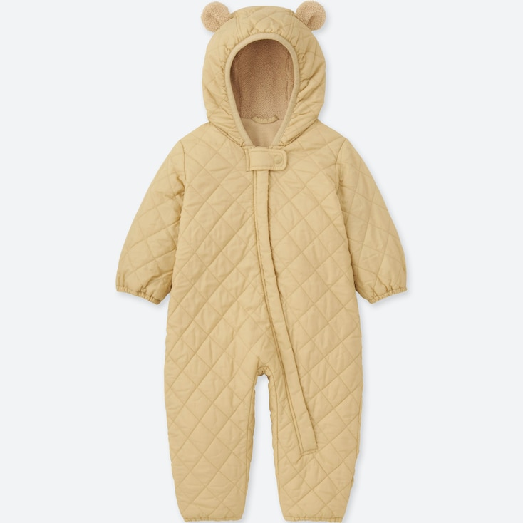 NEWBORN WARM PADDED LONG-SLEEVE ONE-PIECE OUTFIT, BEIGE, large