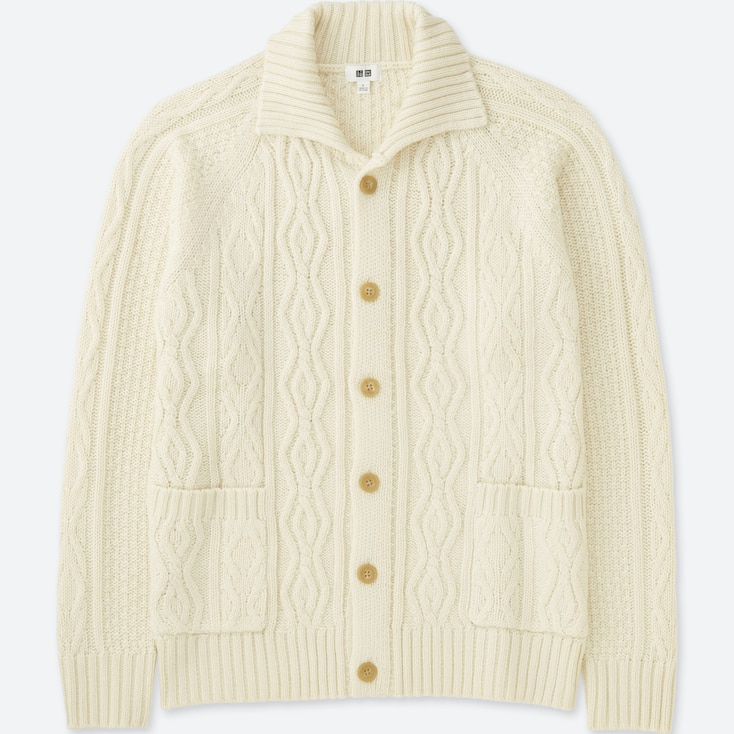 MEN CABLE KNIT LONG-SLEEVE CARDIGAN, OFF WHITE, large