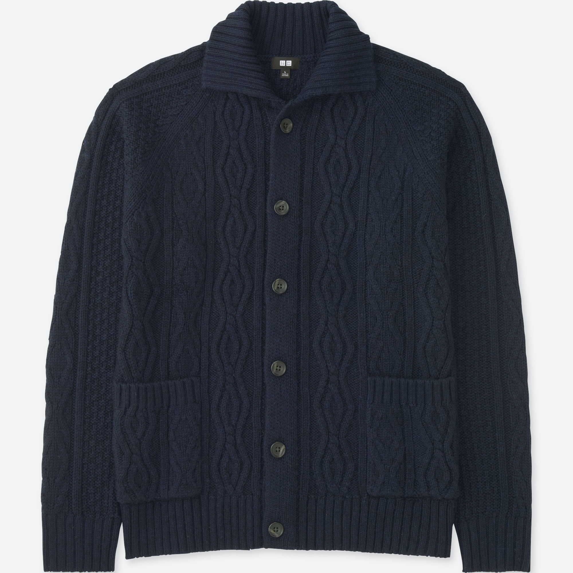 Men Cable Knit Long Sleeve Cardigan