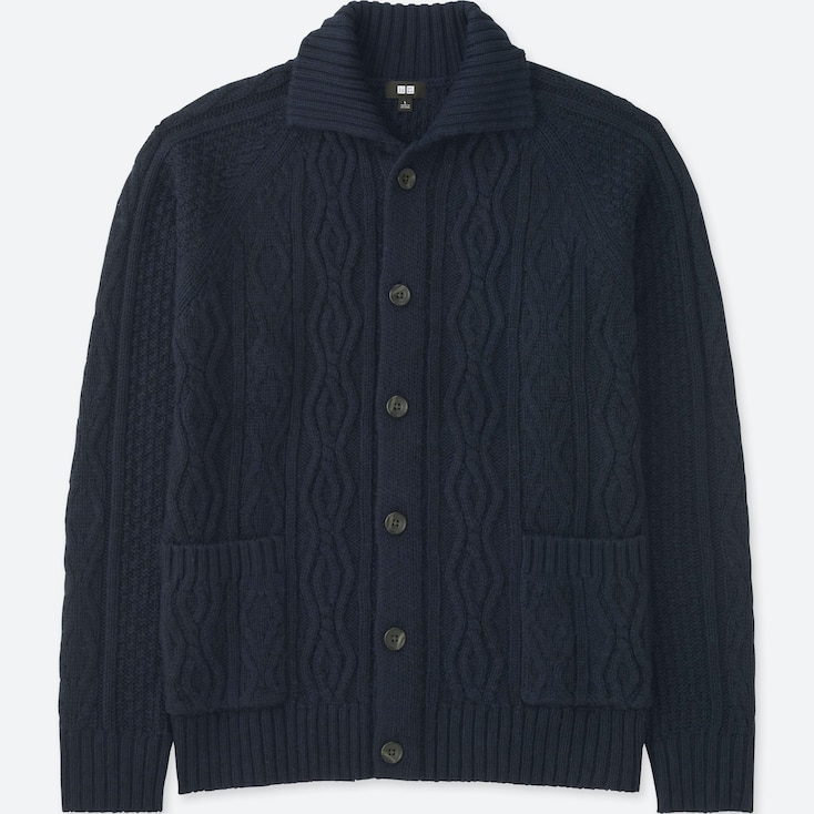 MEN CABLE KNIT LONG-SLEEVE CARDIGAN, NAVY, large