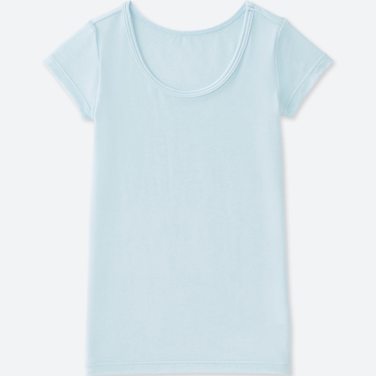 TODDLER HEATTECH U-NECK SHORT-SLEEVE T-SHIRT, LIGHT BLUE, large