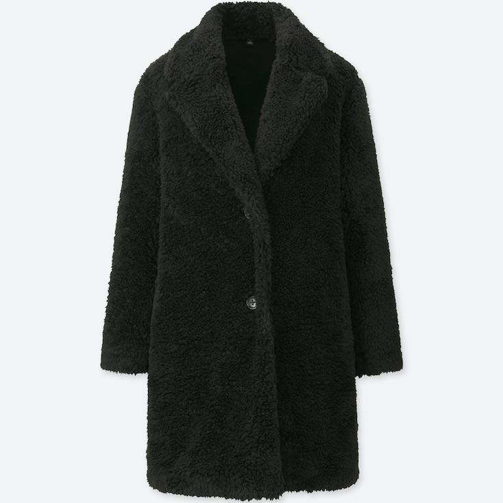 WOMEN PILE-LINED FLEECE LONG-SLEEVE TAILORED COAT, BLACK, large