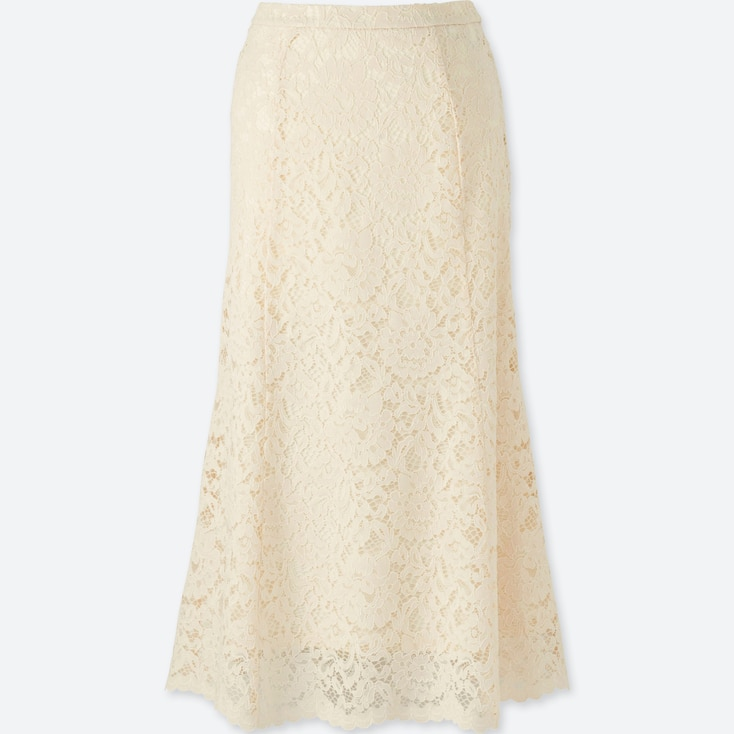 WOMEN LACE FLARE SKIRT, OFF WHITE, large