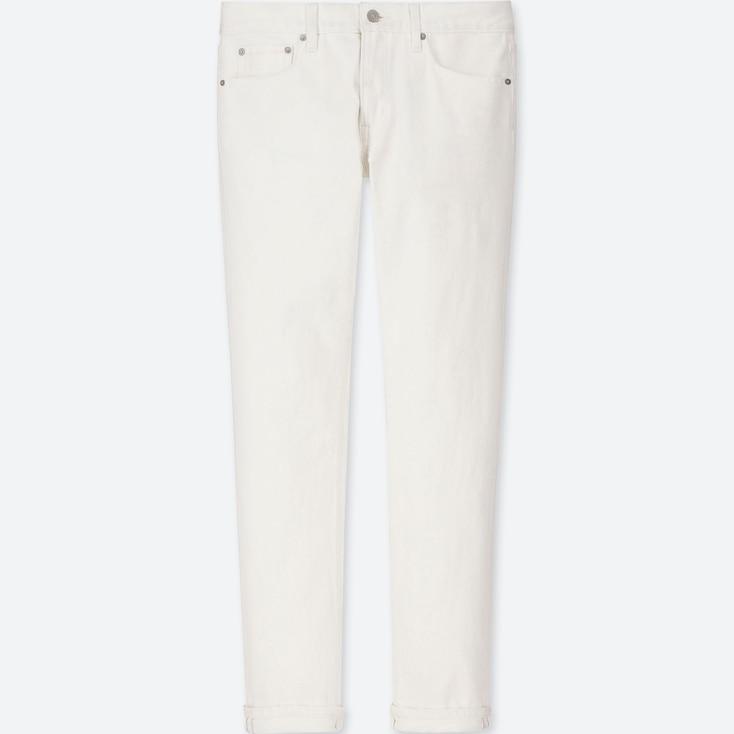MEN STRETCH SELVEDGE SLIM-FIT JEANS, WHITE, large