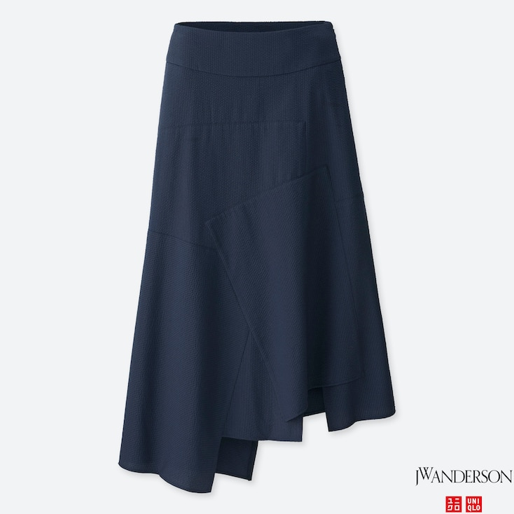 Women Jwa Linen Cotton Long Flare Skirt, Navy, Large