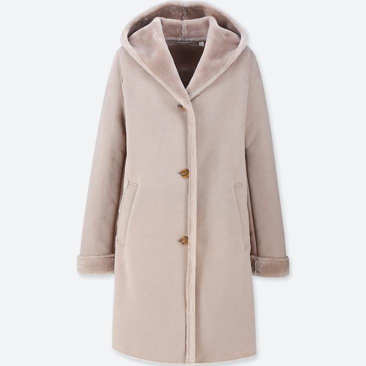 Women Faux Shearling Hooded Coat, Beige, Large