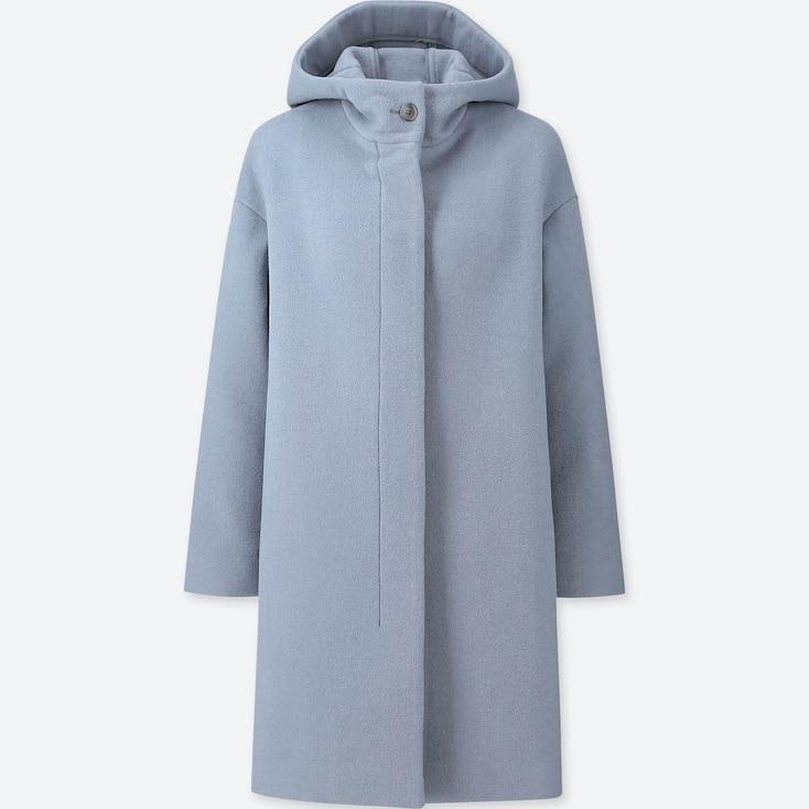 WOMEN LIGHTWEIGHT WOOL-BLEND HOODED COAT, BLUE, large