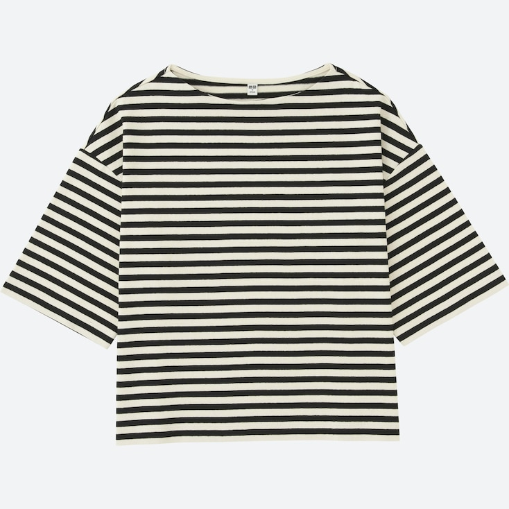 WOMEN STRIPED WIDE 3/4 SLEEVE T-SHIRT, OFF WHITE, large
