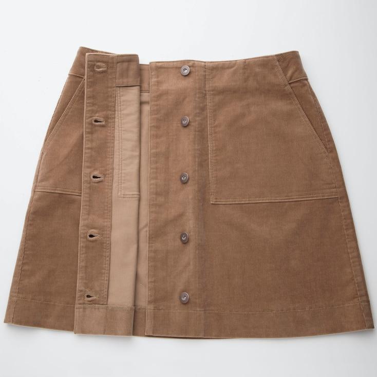 Women Corduroy Front Button High-Waist Mini Skirt, Off White, Large