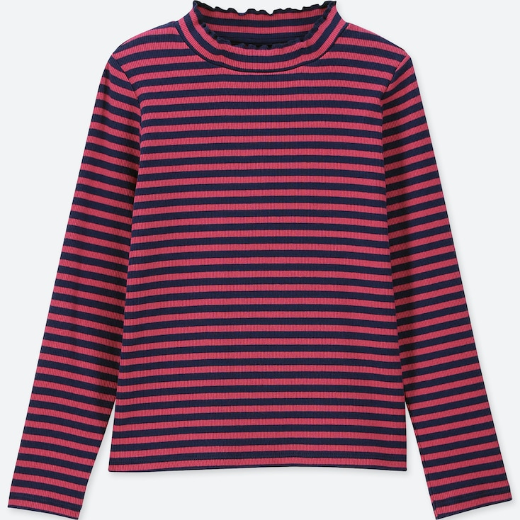 GIRLS RIBBED FRILL STRIPED LONG-SLEEVE T-SHIRT, PINK, large