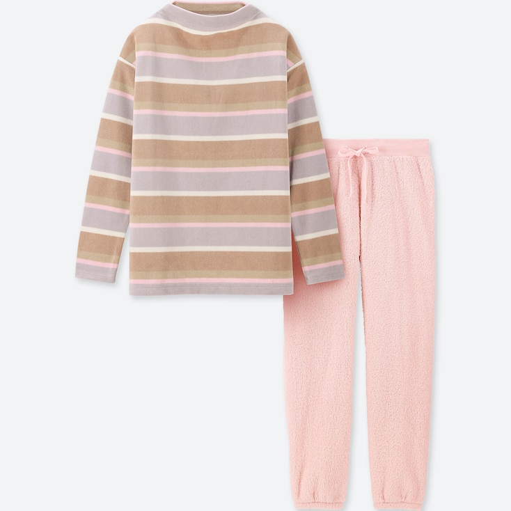 WOMEN LONG-SLEEVE STRIPED FLEECE SET, BEIGE, large