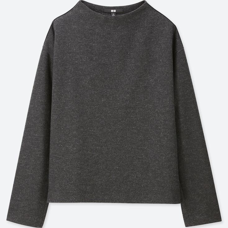 Women Wool-Blend Long-Sleeve Pullover, Dark Gray, Large