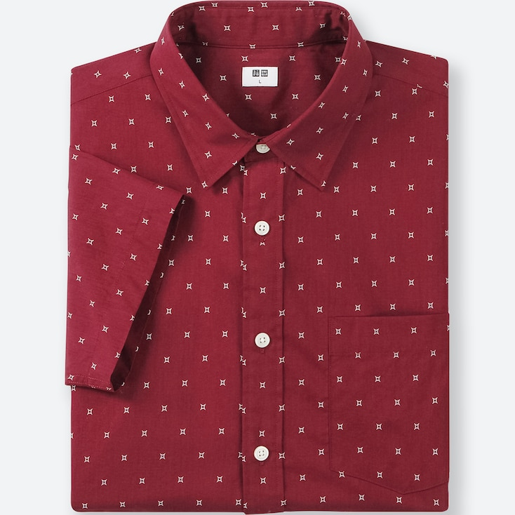 MEN BROADCLOTH PRINTED SHORT-SLEEVE SHIRT, RED, large