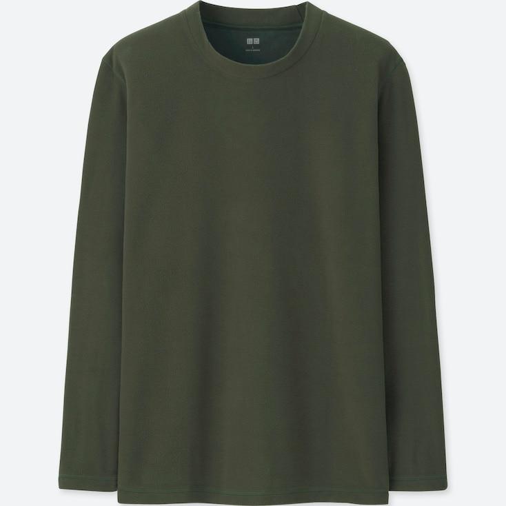 MEN HEATTECH STRETCH FLEECE CREW NECK LONG-SLEEVE T-SHIRT, DARK GREEN, large
