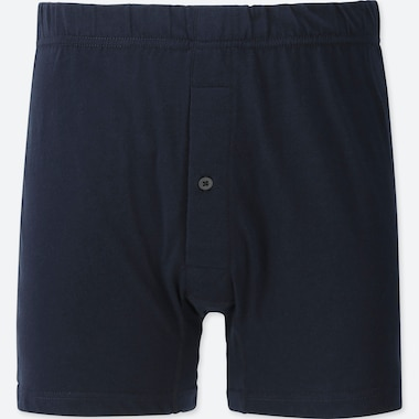 MEN KNIT BOXERS, NAVY, medium