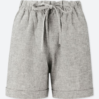 WOMEN COTTON LINEN RELAXED SHORTS, DARK GRAY, medium