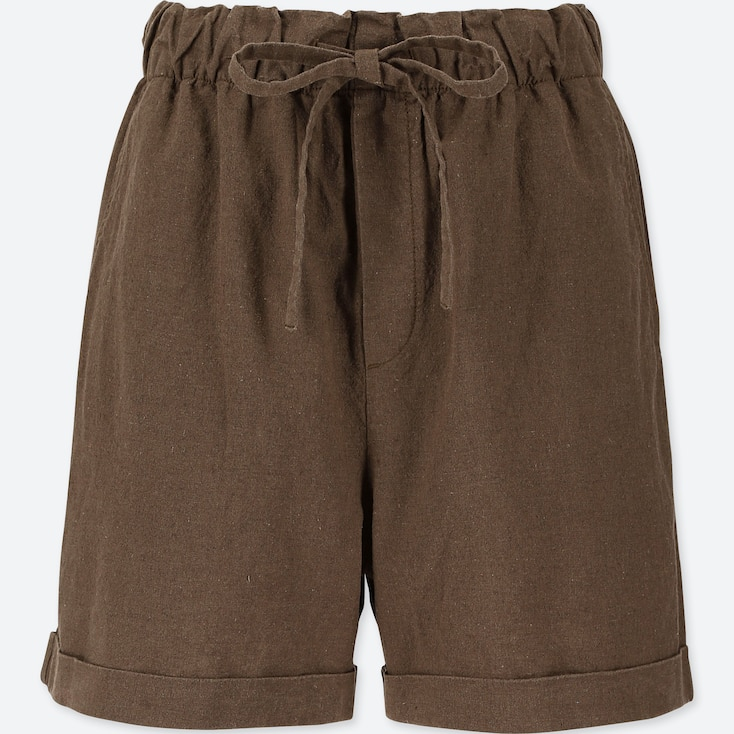 WOMEN COTTON LINEN RELAXED SHORTS, OLIVE, large