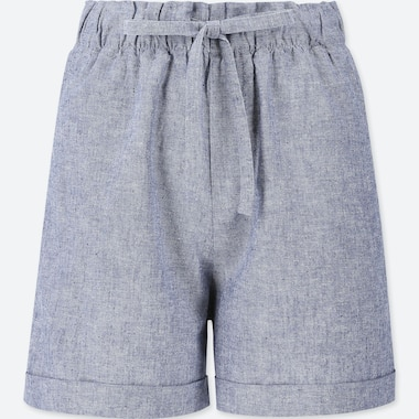 WOMEN COTTON LINEN RELAXED SHORTS, BLUE, medium