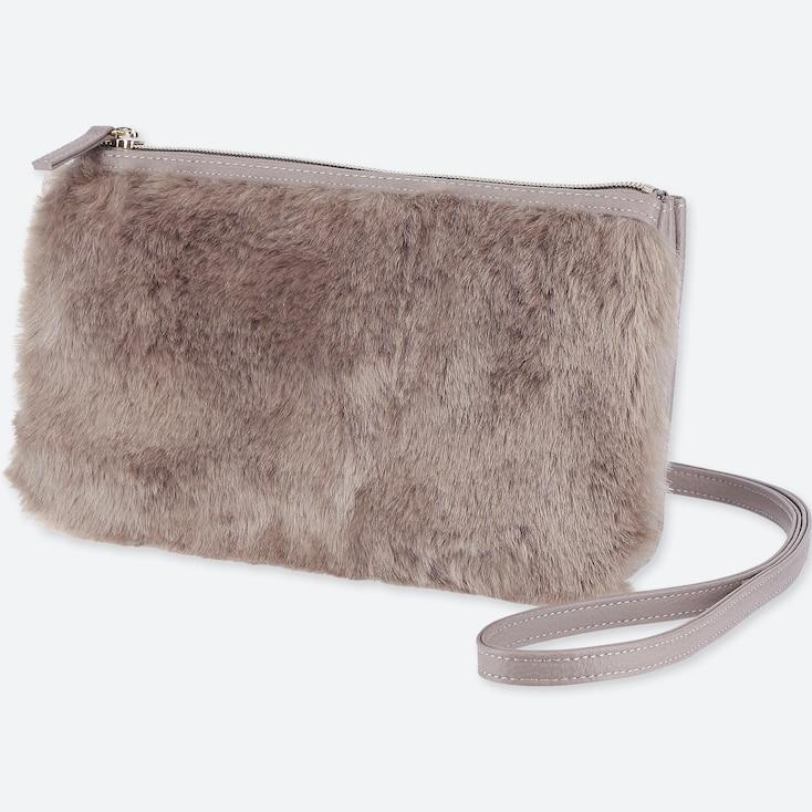 Faux Shearling Shoulder Bag, Gray, Large