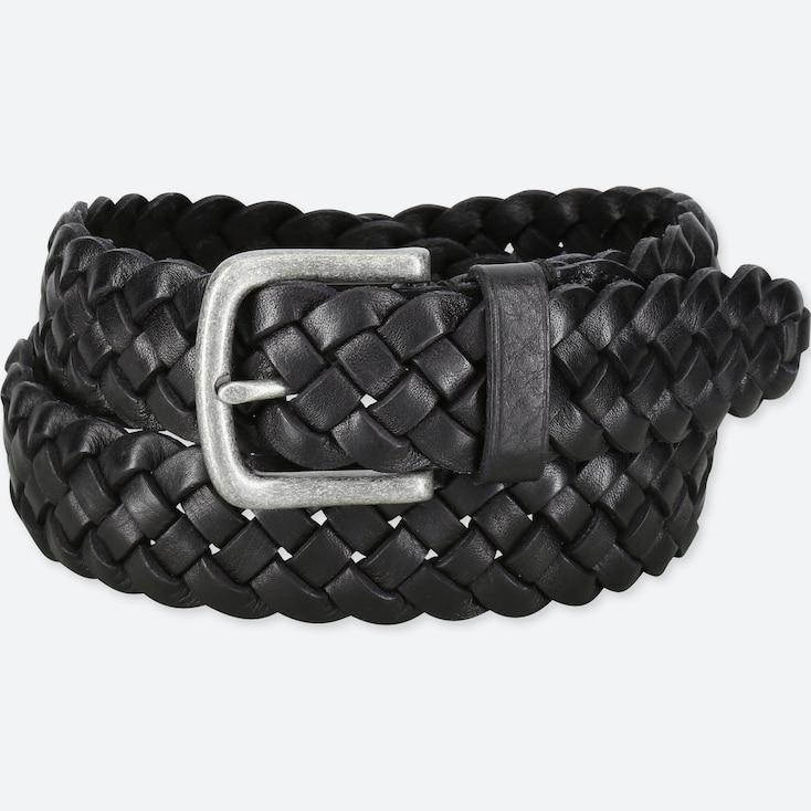 Men Italian Leather Woven Wide Belt by Uniqlo