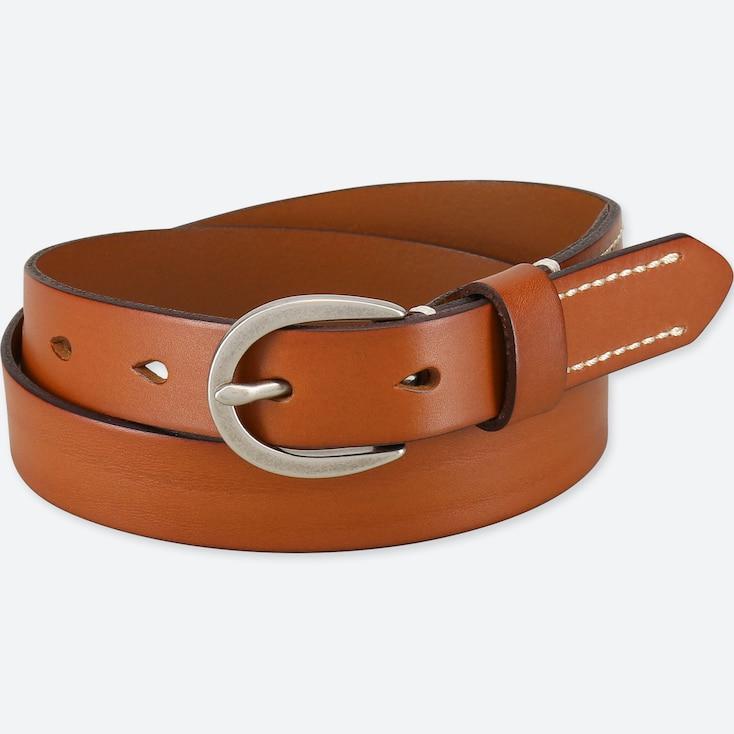 Women Stitched Belt, Brown, Large