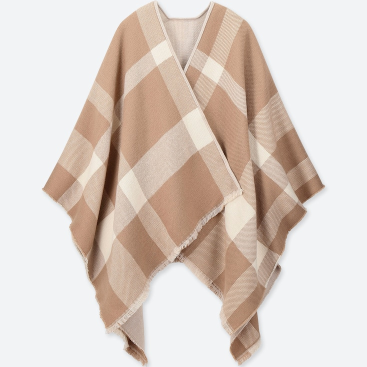 BIG CHECK 2-WAY STOLE, BEIGE, large