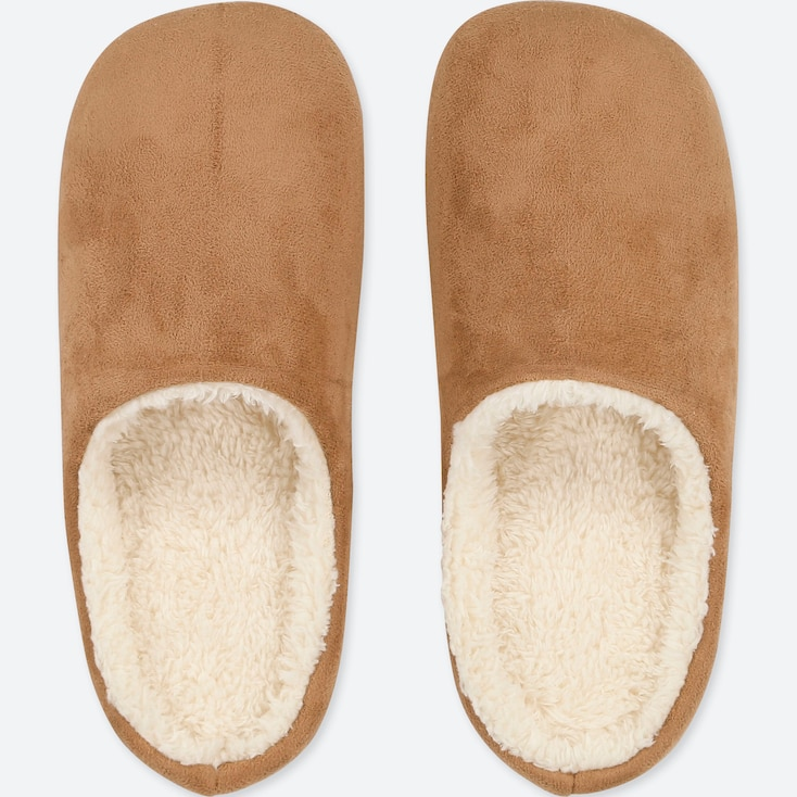 Pile-Lined Slippers, Brown, Large