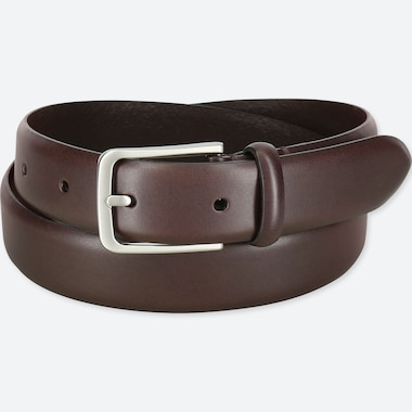 MEN ITALIAN LEATHER NO STITCHED BELT, DARK BROWN, medium