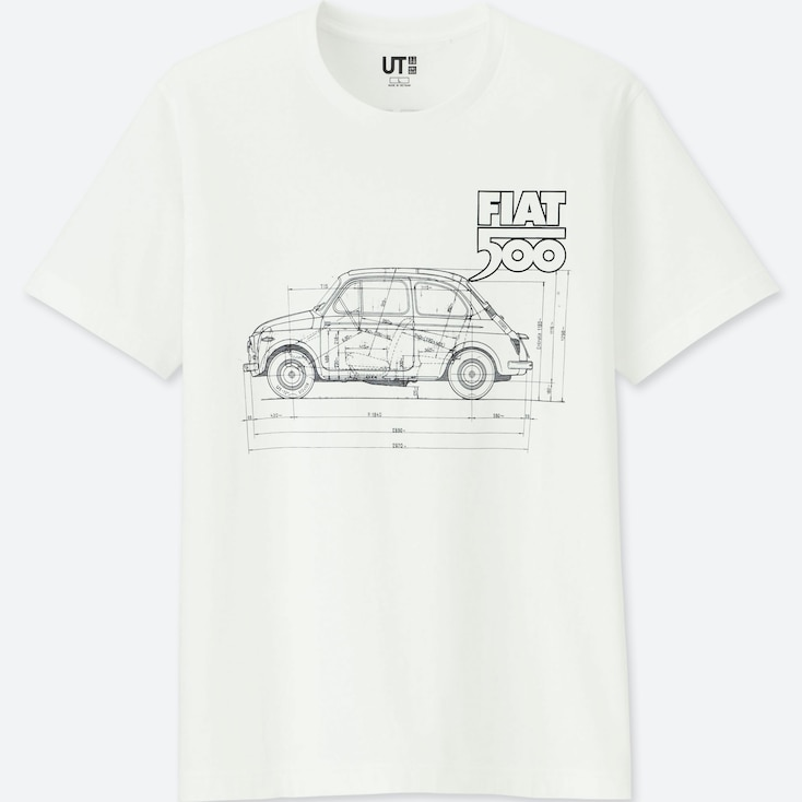 The Brands Short-Sleeve Graphic T-Shirt (Fiat 500), White, Large