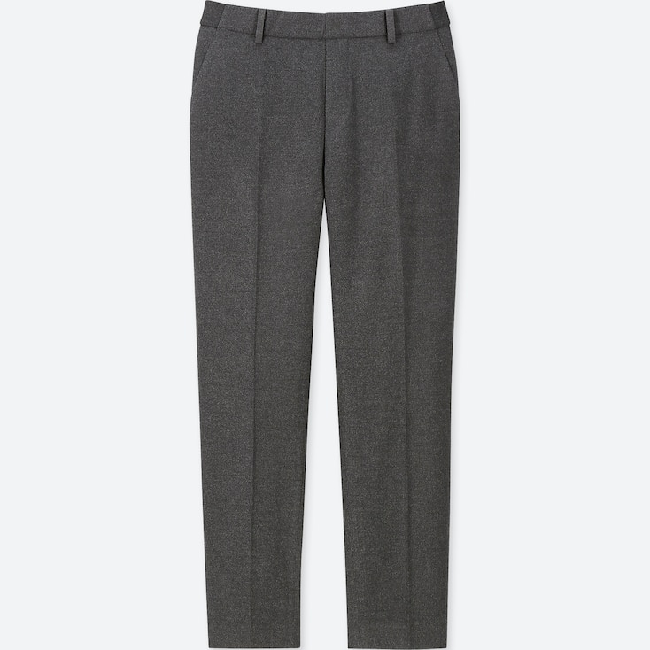 Women Ezy Flannel Ankle-Length Pants, Dark Gray, Large