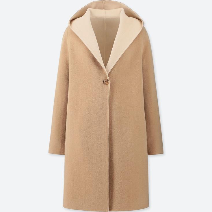 Women Double Face Hooded Coat, Beige, Large