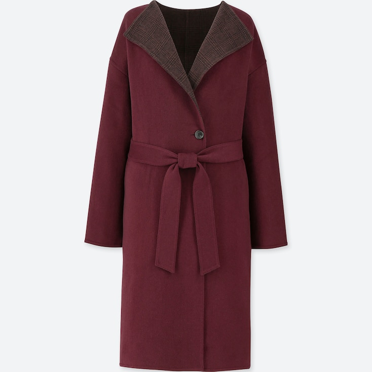 Women Double Face Collarless Coat, Wine, Large