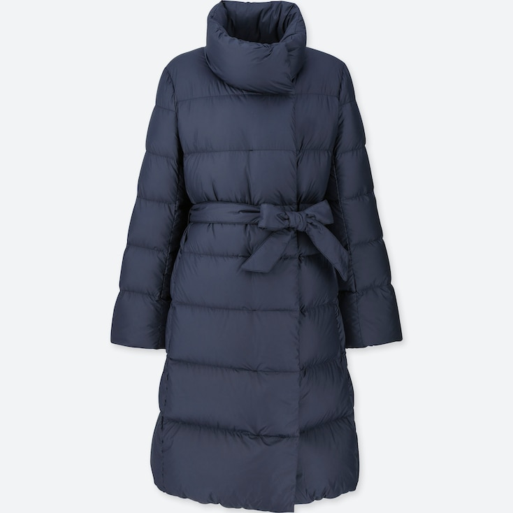 WOMEN LIGHTWEIGHT DOWN STAND COLLAR COAT, NAVY, large