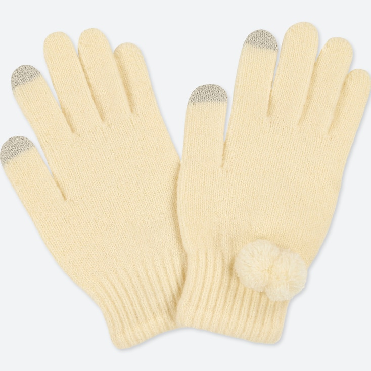KIDS HEATTECH KNITTED GLOVES, OFF WHITE, large