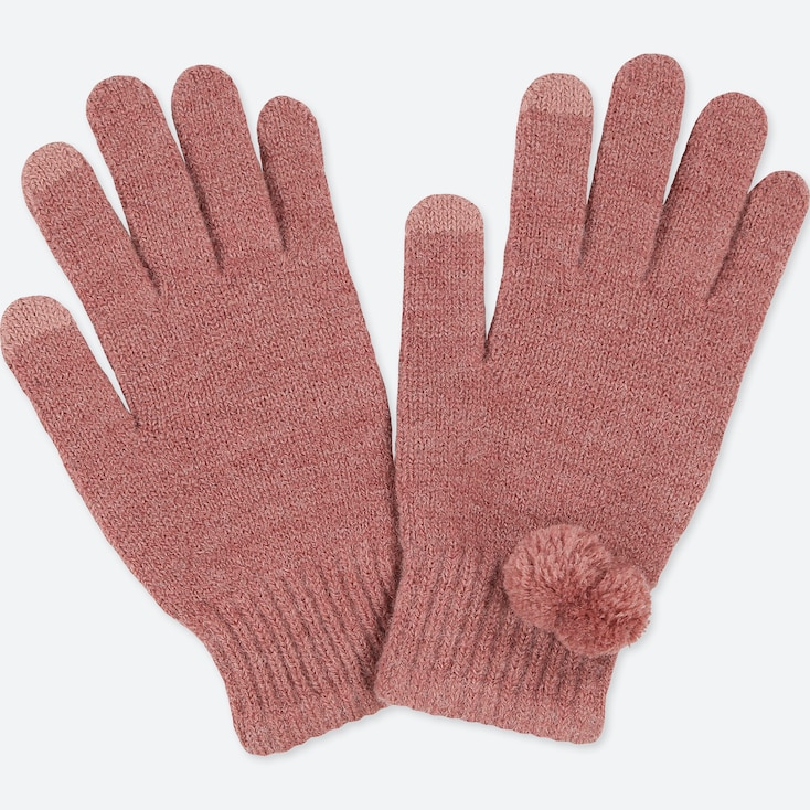KIDS HEATTECH KNITTED GLOVES, PINK, large