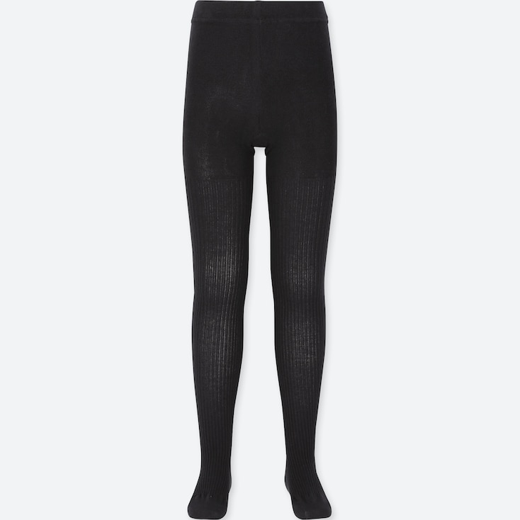 GIRLS KNITTED TIGHTS, BLACK, large