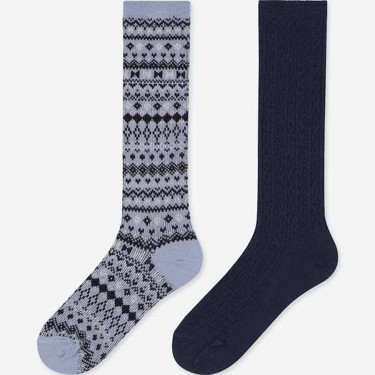 GIRLS HEATTECH HIGH SOCKS (SET OF 2), BLUE, large