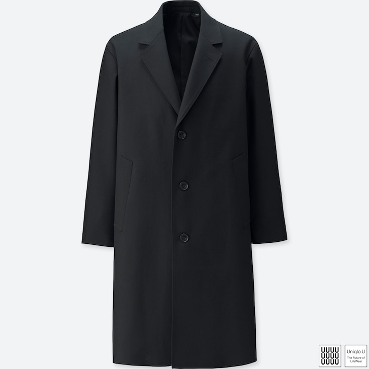 MEN U WOOL-BLEND CHESTERFIELD COAT, BLACK, large