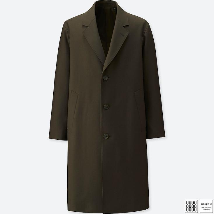 Men U Wool-Blend Chesterfield Coat, Dark Brown, Large