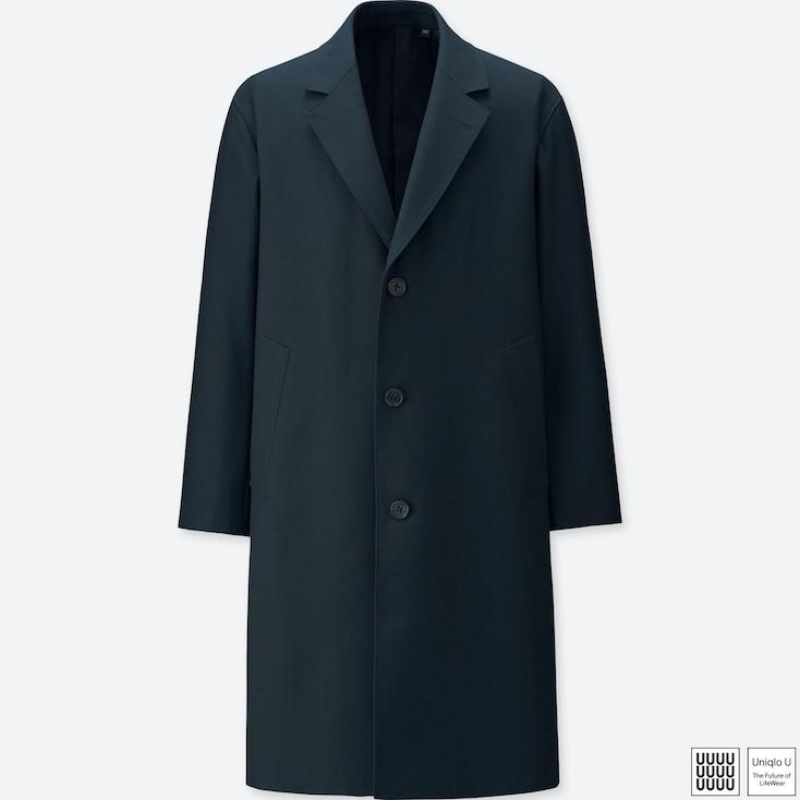 MEN U WOOL-BLEND CHESTERFIELD COAT, BLUE, large