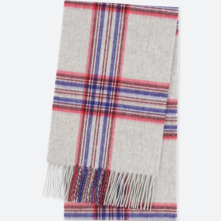 Cashmere Checked Scarf, Light Gray, Large