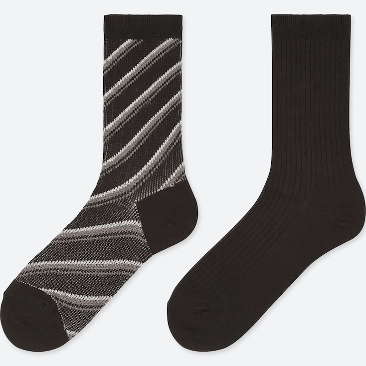 WOMEN HEATTECH STRIPED SOCKS (2 PAIRS), BLACK, large